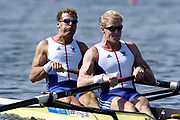 20040814 Olympic Games Athens Greece [Rowing]<br /> Photo  Peter Spurrier <br /> GBR M2-Bow Toby Garbutt and Rick Dunn, moves off the start on the opening day of the Olympic regatta.<br /> <br /> email;  images@intersport-images.com<br /> Tel +44 7973 819 551<br /> T<br /> <br /> <br /> [Mandatory Credit Peter Spurrier/ Intersport Images]