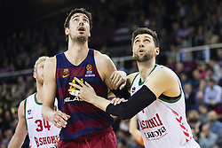 January 27, 2017 - Barcelona, Spain - Ante Tomic of FC Barcelona fighting for a rebound against Andrea Bargnani during the Euroleague Turkish Airlines EuroLeague regular season between FC Barcelona vs Baskonia Vitoria Gasteiz at Palau Blaugrana on January 28th, 2017 in Barcelona, Spain. (Credit Image: © Xavier Bonilla/NurPhoto via ZUMA Press)