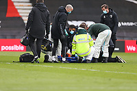 Football - 2020 / 2021 Sky Bet Championship - AFC Bournemouth vs. Coventry City - The Vitality Stadium<br /> <br /> Josh Pask of Coventry receives treatment for a head and neck injury before being carried off on a stretcher at the Vitality Stadium (Dean Court) Bournemouth <br /> <br /> COLORSPORT/SHAUN BOGGUST