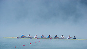 Aiguebelette, FRANCE,  USA M8+, Morning training in the misty conditions at the 2015 FISA World Rowing Championships, Venue, Lake Aiguebelette - Savoie. <br /> <br /> Friday  04/09/2015  [Mandatory Credit. Peter SPURRIER/Intersport Images]. © Peter SPURRIER, Atmospheric, Rowing