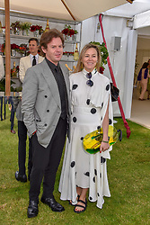 Christopher Kane and Tammy Kane at the Cartier Queen's Cup Polo 2019 held at Guards Polo Club, Windsor, Berkshire. UK 16 June 2019. <br /> <br /> Photo by Dominic O'Neill/Desmond O'Neill Features Ltd.  +44(0)7092 235465  www.donfeatures.com
