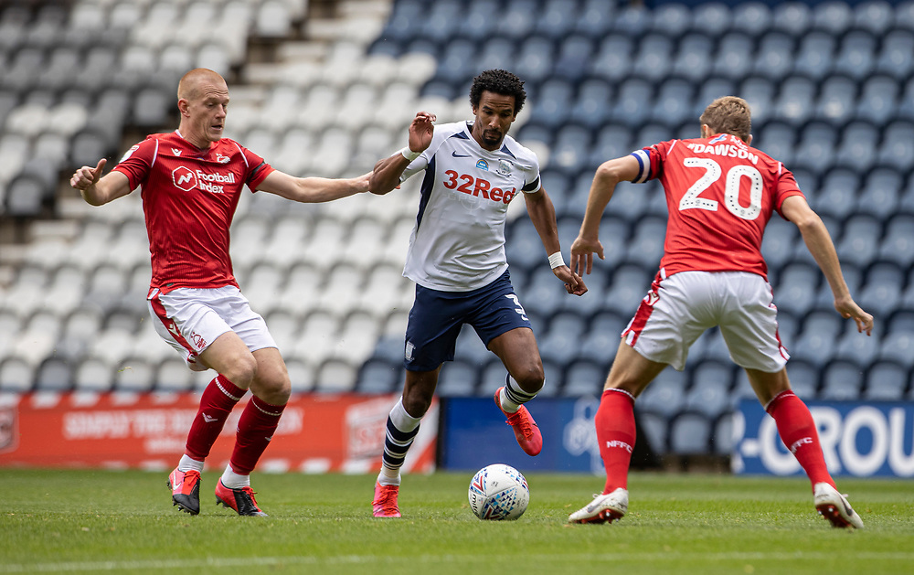 Preston North End's Scott Sinclair (centre) competing with Nottingham Forest's Ben Watson (left) and Michael Dawson <br /> <br /> Photographer Andrew Kearns/CameraSport<br /> <br /> The EFL Sky Bet Championship - Preston North End v Nottingham Forest - Saturday 11th July 2020 - Deepdale Stadium - Preston <br /> <br /> World Copyright © 2020 CameraSport. All rights reserved. 43 Linden Ave. Countesthorpe. Leicester. England. LE8 5PG - Tel: +44 (0) 116 277 4147 - admin@camerasport.com - www.camerasport.com
