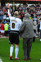 Derby County's Robbie Savage plays his last game at Pride Park before retiring from football walks out with his dad and two children - Photo mandatory by-line: Joe Meredith/JMP - 30/04/2011 - SPORT - FOOTBALL - Championship - Derby County v Bristol City  - Pride Park, Derby, England