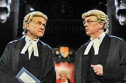 "© Licensed to London News Pictures. 20/10/2017. London, UK. (L to R) David Yelland as Sir Wilfrid Robarts and Philip Franks as Mr Myers QC.  Photocall for ""Witness for the Prosecution"", by Agatha Christie, directed by Lucy Bailey, at London County Hall.  The play opens 23 October. Photo credit : Stephen Chung/LNP"