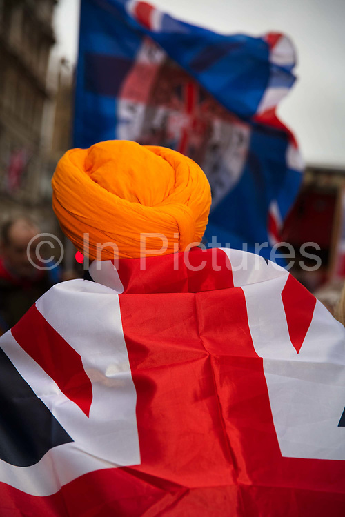 Sawag Singh a Sikh living in Leicester joined Pro Brexit Leave supporters gathering in Westminster on Brexit Day as the UK prepares to leave the European Union on 31st January 2020 in London, England, United Kingdom. At 11pm on Friday 31st January 2020, The UK and N. Ireland will officially leave the EU and go into a state of negotiations as to the future arrangement and trade agreement, while adhering to EU rules until the end of 2020.