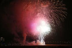 July 4, 2018 - San Diego, CA, USA - July 4, 2018 - San Diego, California, USA - Fireworks explode on Fiesta Island from the 4th of July SeaWorld San Diego fireworks show. (Credit Image: © KC Alfred via ZUMA Wire)