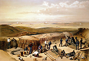 Crimean (Russo-Turkish) War 1853-1856 'The New Works at the Siege of Sebastapol. Mortar battery on right of Jordan's battery'. From William Simpson 'Illustrations of the War in the East' 1855-1856.