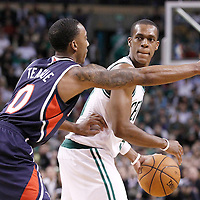 10 May 2012: Boston Celtics point guard Rajon Rondo (9) looks to pass over Atlanta Hawks point guard Jeff Teague (0) during the Boston Celtics 83-80 victory over the Atlanta Hawks, in Game 6 of the Eastern Conference first-round playoff series, at the TD Banknorth Garden, Boston, Massachusetts, USA.