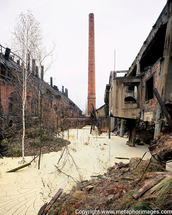 Steel Mill, Poland, 2004. <br /> The industrial region of Silesia is a landscape under transformation. Many old industrial sites are now large shopping centres. Some more novel interventions include the conversion of tailings dumps into ski resorts. <br /> Wastelands is a journey into abandoned and transient spaces in Australia and Europe. Over a number of years I've travelled with a large format camera to record some of the unusual ways that buildings decline, and the more unusual ways that space is reordered. <br /> <br /> A common practice is to transform abandoned industrial sites into modern centres of consumption. Old industrial centres often find new life as shopping centres. But family fun parks in abandoned nuclear power stations and the prospect of a European wilderness in Chernobyl reveal that landscape is never a finished project, nor what we always expect.<br /> <br /> Large format photography has had a long association with architecture and landscape. It expands detail and corrects perspective, often recording more than we can actually see, compelling us to look longer.