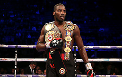 Lawrence Okolie celebrates winning the WBA continental cruiserweight championship at The O2 Arena, London.