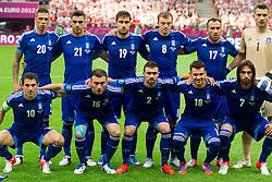 08-06-2012 VOETBAL: EURO 2012 POLEN - GRIEKENLAND: WARSCHAU<br /> Team of Greece (standing row L-R) Jose Holebas  of Greece, Kostas Katsouranis  of Greece, Sokratis Papastathopoulos  of Greece, Avraam Papadopoulos  of Greece, Fanis Gekas  of Greece and Dimitris Salpingidis  of Greece; (first row L-R) Giorgos Karagounis  of Greece, Vassilis Torossidis  of Greece, Giannis Maniatis  of Greece, Sotiris Ninis  of Greece and Giorgos Samaras  of Greece<br /> ***NETHERLANDS ONLY***<br /> ©2012-FotoHoogendoorn.nl/Vid Ponikvar