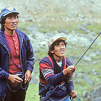 Pasang Onchu Sherpa learns to belay under the watchful eye of instructor Pertemba Sherpa at a mountaineering school operated by Mountain Travel Nepal in September, 1980