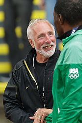 Olympic Trials Eugene 2012: Vin Lannana, meet director and head coach Univ of Oregon, greets Olympic gold medalist Rafer Johnson