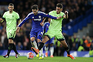 David Faupala of Manchester City ®  intercepts Cesc Fabregas of Chelsea. The Emirates FA Cup, 5th round match, Chelsea v Manchester city at Stamford Bridge in London on Sunday 21st Feb 2016.<br /> pic by John Patrick Fletcher, Andrew Orchard sports photography.