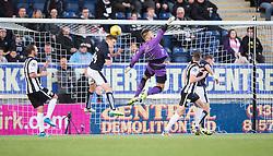 Falkirk's Paul Watson heads clear. <br /> Falkirk 3 v 0 St Mirren. Scottish Championship game played 21/10/2015 at The Falkirk Stadium.