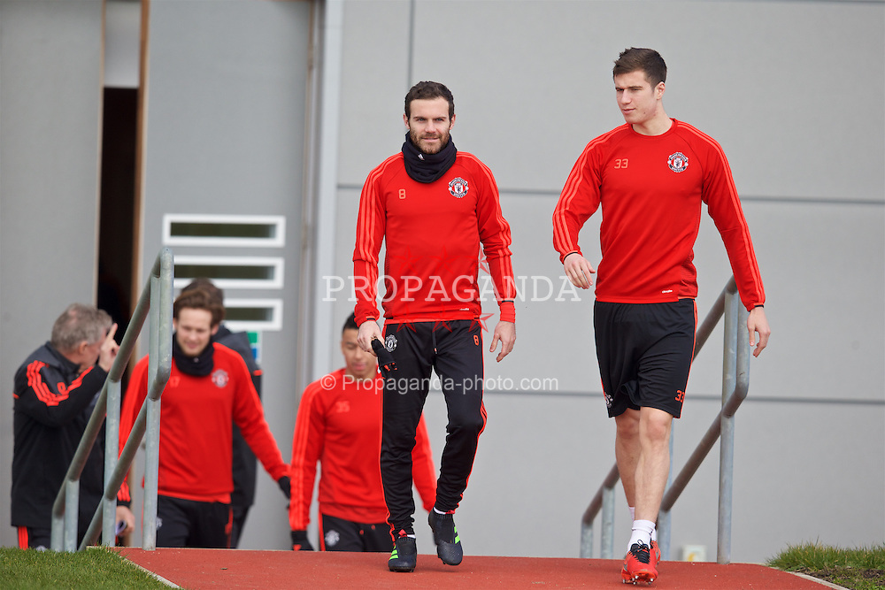 MANCHESTER, ENGLAND - Wednesday, March 16, 2016: Manchester United's Juan Mata and Paddy McNair during a training session at Carrington Training Ground ahead of the UEFA Europa League Round of 16 2nd Leg match against Liverpool. (Pic by David Rawcliffe/Propaganda)