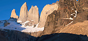 Sunrise view of the Bases del Torres at Torres del Paine National Park, Chile.