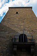 Torre del Reloj built in 1445, and has been a clocktower, a prison, and now the office of CTP - the Pyrenees Working Community, in Jaca, Huesca, Aragon, Spain