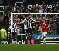 Photo: Andrew Unwin.<br /> Newcastle United v Manchester United. The Barclays Premiership. 01/01/2007.<br /> Newcastle's David Edgar (C) celebrates scoring his team's second goal.