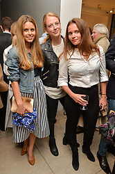 Left to right, IRENE FORTE, MADDY GOGARTY and GEORGINA BRENNAN at a private view of Bright Young Things held at the David Gill Gallery, 2-4 King Street, London on 19th April 2016.