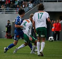 Fotball <br /> Tippeligaen<br /> Briskeby Gressbane <br /> 06.08.08<br /> HamKam  v  Tromsø  0-1<br /> Foto: Dagfinn Limoseth, Digitalsport<br /> Adriano Munoz , Tromsø og Frode Bjørnevik , HamKam i hendelsen som førte til frispark og mål.
