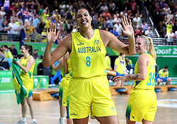 Australia's Elizabeth Cambage celebrates winning in the Women's Gold Medal Game at the Gold Coast Convention and Exhibition Centre during day ten of the 2018 Commonwealth Games in the Gold Coast, Australia.