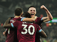 Football - 2018 / 2019 Premier League - West Ham United vs. Fulham<br /> <br /> Michail Antonio of West ham celebrates scoring goal no 3, with Declan Rice at The London Stadium.<br /> <br /> COLORSPORT/ANDREW COWIE