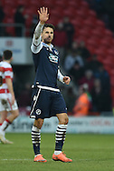 Lee Gregory of Millwall FC waves to fans at end of match  during the Sky Bet League 1 match between Doncaster Rovers and Millwall at the Keepmoat Stadium, Doncaster, England on 27 February 2016. Photo by Ian Lyall.