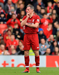 Liverpool's Jamie Carragher during the Legends match at Anfield Stadium, Liverpool.