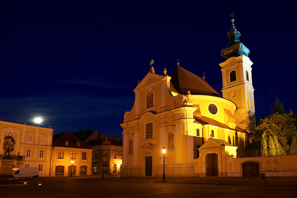 Carmelite church at night  - ( Gy?r )  Hungary .<br /> <br /> Visit our HUNGARY HISTORIC PLACES PHOTO COLLECTIONS for more photos to download or buy as wall art prints https://funkystock.photoshelter.com/gallery-collection/Pictures-Images-of-Hungary-Photos-of-Hungarian-Historic-Landmark-Sites/C0000Te8AnPgxjRg