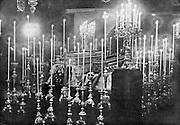 Assassination of Archduke Francis Ferdinand (Franz Ferdinand) 1863-1914, heir to the Austrian throne, at Sarajevo 28 June 1914. The coffins of Franz Ferdinand and Archduchess Sophie lying in state.