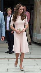 Catherine, Duchess of Cambridge, wearing a pale pink dress by New York label Lela Rose, visits Truro Cathedral during a tour of Cornwall on September 01, 2016