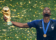 Paul Pogba of France celebrates with the trophy and the new shirt with 2 stars after winning the 2018 FIFA World Cup Russia, final football match between France and Croatia on July 15, 2018 at Luzhniki Stadium in Moscow, Russia - Photo Tarso Sarraf / FramePhoto / ProSportsImages / DPPI