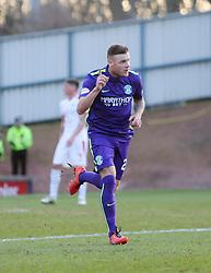 Hibernian's Anthony Stokes cele scoring their goal. <br /> Raith Rovers v Hibernian, Scottish Championship game player at Stark's Park, 18/3/2016.