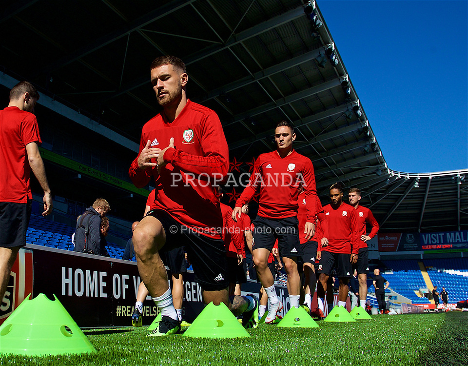 CARDIFF, WALES - Wednesday, September 5, 2018: Wales' Aaron Ramsey during a training session at the Cardiff City Stadium ahead of the UEFA Nations League Group Stage League B Group 4 match between Wales and Republic of Ireland. (Pic by David Rawcliffe/Propaganda)