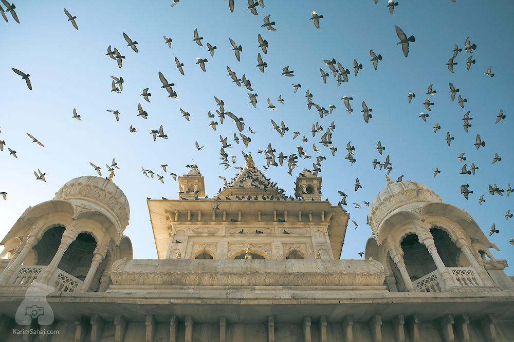 Pigeons fly above the 'Jaswant Thada' cenotaph in Jodhpur, Rajasthan, India. The carved marble landmark was erected in 1899 in memory of Maharaja Jaswant Singh II, the ruler of 'Marwar', another name for the Jodhpur region.