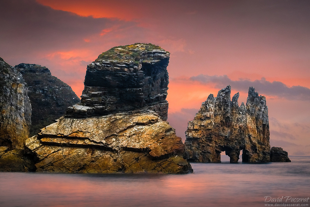 Rock formations at dusk in Asturia.