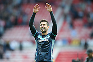 Middlesbrough defender Antonio Barragan (17)  celebrates the victory after the final whistle during the Premier League match between Sunderland and Middlesbrough at the Stadium Of Light, Sunderland, England on 21 August 2016. Photo by Simon Davies.