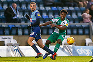 Plymouth Argyle defender Ashley Smith-Brown (23) and Wycombe Wanderers midfielder Nick Freeman(22) clash during the EFL Sky Bet League 1 match between Wycombe Wanderers and Plymouth Argyle at Adams Park, High Wycombe, England on 26 January 2019.