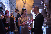 TYPHANIE DELAUP; ROSS CHALMERS;, Ball at to celebrateBlanche Howard's 21st and  George Howard's 30th  birthday. Dress code: Black Tie with a touch of Surrealism. Castle Howard. Yorkshire. 14 November 2015