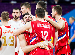Vasilje Micic of Serbia and Dragan Milosavljevic of Serbia celebrate after winning during basketball match between National Teams of Russia and Serbia at Day 16 in Semifinal of the FIBA EuroBasket 2017 at Sinan Erdem Dome in Istanbul, Turkey on September 15, 2017. Photo by Vid Ponikvar / Sportida