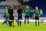 Birmingham City's Harlee Dean (12) appeals to Referee Michael Salisbury at the end of the EFL Sky Bet Championship match between Cardiff City and Birmingham City at the Cardiff City Stadium, Cardiff, Wales on 16 December 2020.