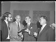 """30/05/1960<br /> 05/30/1960<br /> 30 May 1960<br /> W.D. & H.O. Wills and Gael Linn press conference on new collaboration at the Hibernian Hotel Dublin. Image shows (l-r): Louis Marcus, Film Director; Peter Hunt, Recording Engineer; A. Price, Advertising Manager, W.D. & H.O. Wills. Film concerned most likely """"Peil""""."""