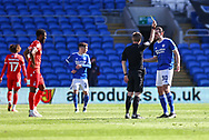 YELLOW CARD Cardiff City's Ciaron Brown (30) is shown a yellow card by referee Gavin Ward during the EFL Sky Bet Championship match between Cardiff City and Nottingham Forest at the Cardiff City Stadium, Cardiff, Wales on 2 April 2021.