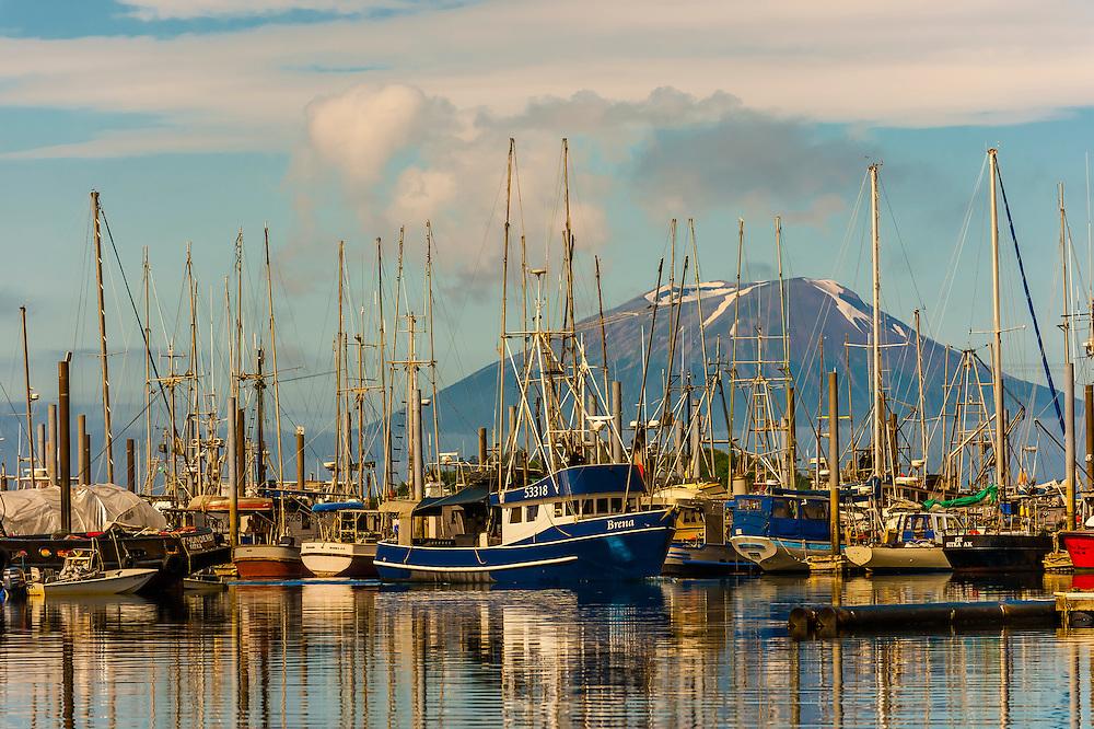 Harbor in Sitka (on Baranof Island) with Mt. Edgecumbe (on Kruzof Island) in background, southeast Alaska USA.