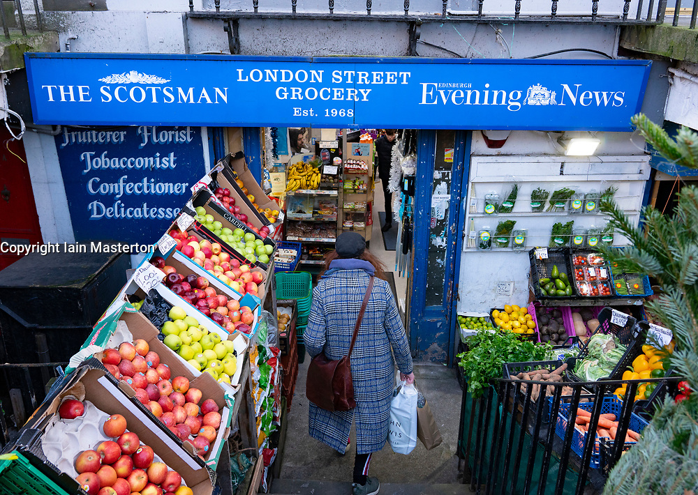 Exterior of traditional greengrocer and newsagent on London Street in Edinburgh, Scotland ,UK