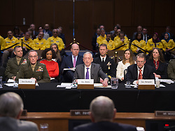 April 26, 2018 - Washington, DC, United States of America - U.S. Secretary of Defense Jim Mattis, center, Under Secretary of Defense David Norquist and Chairman of the Joint Chiefs Gen. Joseph Dunford, left, during the fiscal year 2019 budget hearing at the Senate Armed Services Committee on Capitol Hill April 26, 2018 in Washington, DC. (Credit Image: © Kathryn E. Holm/Planet Pix via ZUMA Wire)