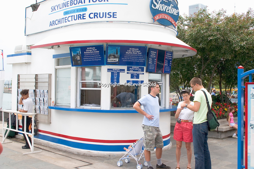 Ticket booth for boat cruises at Navy Pier. Chicago Illinois USA