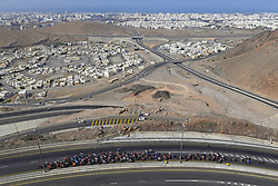 February 14, 2018 - Muscat, Oman - MUSCAT, SULTANATE OF OMAN - FEBRUARY 14 : Illustration picture of the peloton in the climb of Al Jabal Street during stage 2 of the 9th edition of the 2018 Tour of Oman cycling race, a stage of 167.5 kms between Sultan Qaboos University and Al Bustan on February 14, 2018 in Muscat, Sultanate Of Oman, 14/02/2018 (Credit Image: © Panoramic via ZUMA Press)