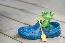 Close-up of a ceramic frog sitting in blue shoe, Augsburg, Bavaria, Germany